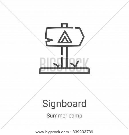 signboard icon isolated on white background from summer camp collection. signboard icon trendy and m