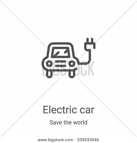 electric car icon isolated on white background from save the world collection. electric car icon tre