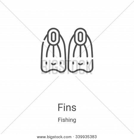 fins icon isolated on white background from fishing collection. fins icon trendy and modern fins sym