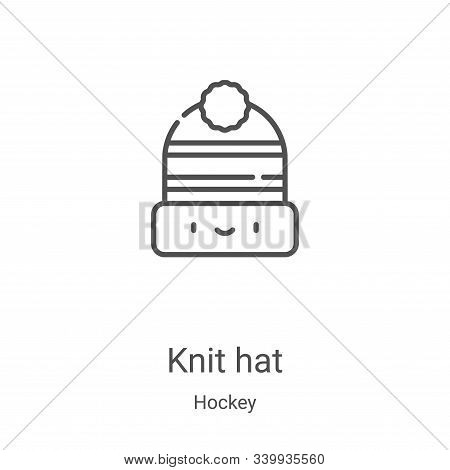 knit hat icon isolated on white background from hockey collection. knit hat icon trendy and modern k