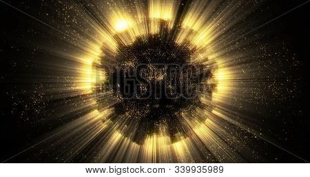 Gold light sphere ball with glitter sparkles radiance and glowing shimmer explosion. Magic glow sphere emitting light rays and golden sparkling particles with shiny glare flare effect