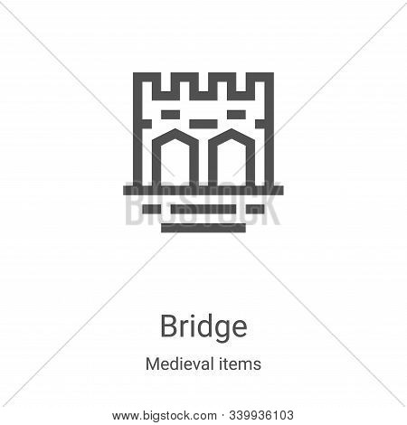 bridge icon isolated on white background from medieval items collection. bridge icon trendy and mode