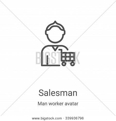 Salesman icon isolated on white background from man worker avatar collection. Salesman icon trendy a