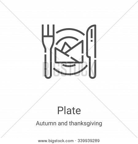 plate icon isolated on white background from autumn and thanksgiving collection. plate icon trendy a