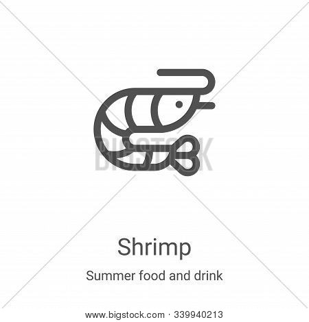 Shrimp icon isolated on white background from summer food and drink collection. Shrimp icon trendy a