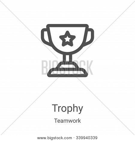 trophy icon isolated on white background from teamwork collection. trophy icon trendy and modern tro