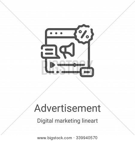 Advertisement icon isolated on white background from digital marketing lineart collection. Advertise