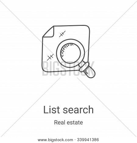 list search icon isolated on white background from real estate collection. list search icon trendy a
