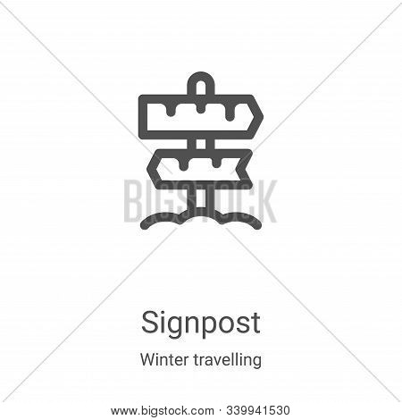 signpost icon isolated on white background from winter travelling collection. signpost icon trendy a
