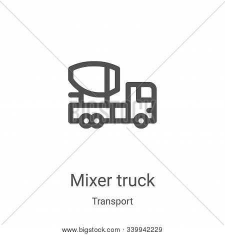 mixer truck icon isolated on white background from transport collection. mixer truck icon trendy and