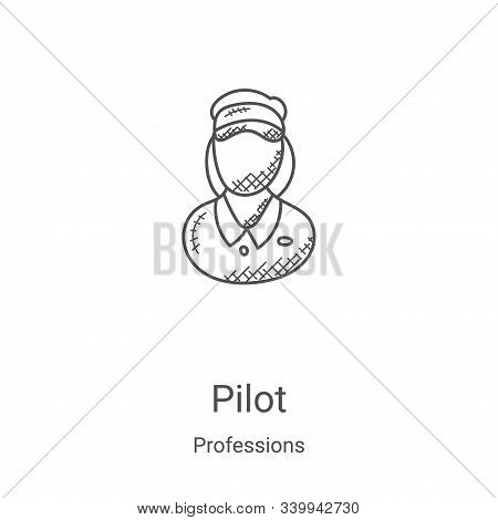 pilot icon isolated on white background from professions collection. pilot icon trendy and modern pi
