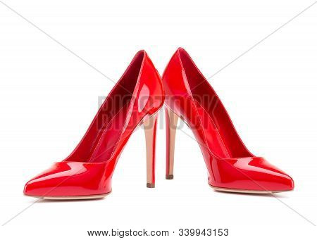 Red Shoes Isolate On A White Background. A Pair Of Elegant Women's Shoes.