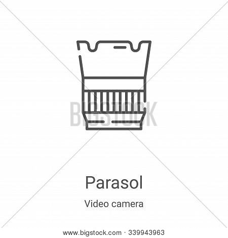 parasol icon isolated on white background from video camera collection. parasol icon trendy and mode