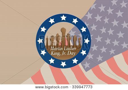 Martin Luther King Day Anniversary - American Flag Abstract Background Illustrator Vector.