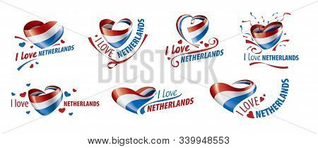 The National Flag Of The Netherlands And The Inscription I Love Netherlands. Vector Illustration