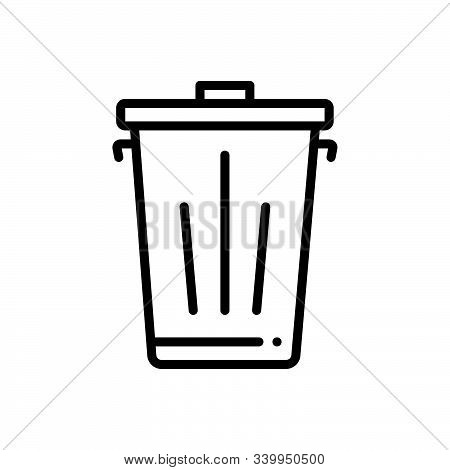 Black Line Icon For Trash Dustbin  Garbage  Waste  Recycle  Dump
