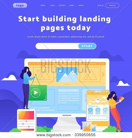 Vector Web Site Design Template. Female Development Team And Creative Designers. Landing Page Concep