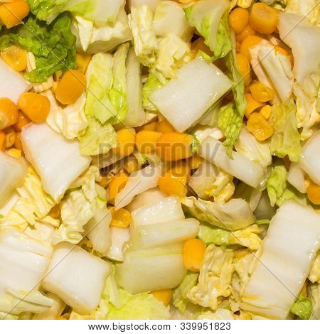 Salad Peking Cabbage With Corn.background Peking Cabbage With Corn.