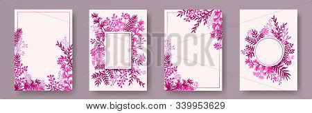 Tropical Herb Twigs, Tree Branches, Flowers Floral Invitation Cards Collection. Herbal Frames Romant