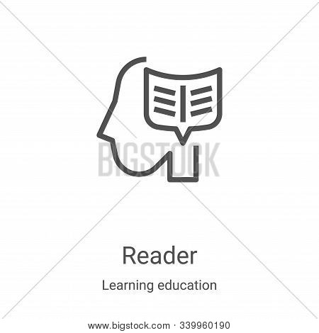 reader icon isolated on white background from learning education collection. reader icon trendy and