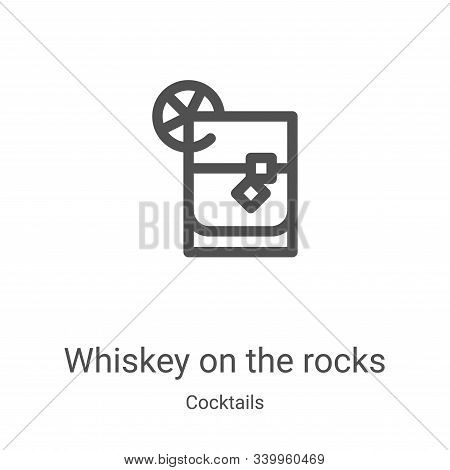 whiskey on the rocks icon isolated on white background from cocktails collection. whiskey on the roc