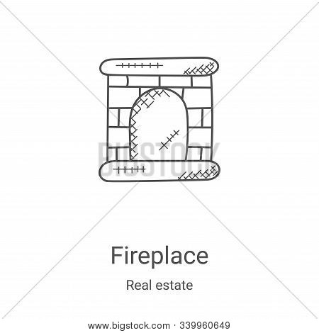 fireplace icon isolated on white background from real estate collection. fireplace icon trendy and m