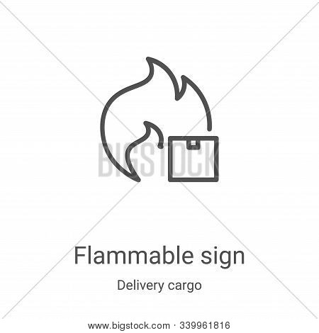 flammable sign icon isolated on white background from delivery cargo collection. flammable sign icon