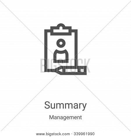 summary icon isolated on white background from management collection. summary icon trendy and modern