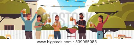 Friends Preparing Hot Dogs On Grill And Drinking Beer Happy Men Women Group Having Fun Backyard Picn