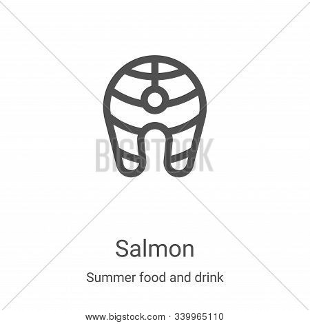 salmon icon isolated on white background from summer food and drink collection. salmon icon trendy a