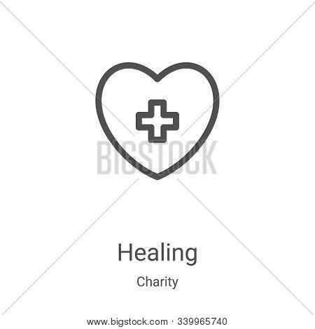 healing icon isolated on white background from charity collection. healing icon trendy and modern he