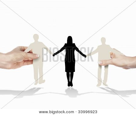 People standing together as symbol of successful partnership poster