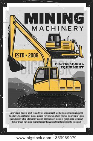 Coal Production, Mining Industry Professional Equipment And Machinery Bulldozer Vintage Retro Poster