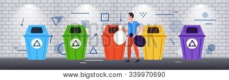 Man Putting Garbage Bags In Different Types Of Recycling Bins Segregate Waste Sorting Management Cle