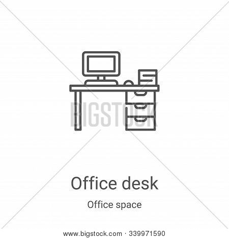 office desk icon isolated on white background from office space collection. office desk icon trendy