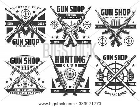 Guns And Shotguns Shop Icons, Personal Defense Ammunition And Hunting Ammo. Vector Military Or Train