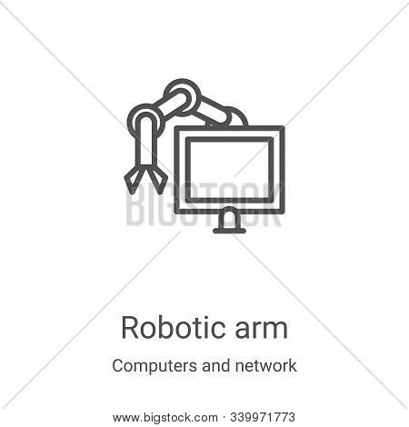 robotic arm icon isolated on white background from computers and network collection. robotic arm ico