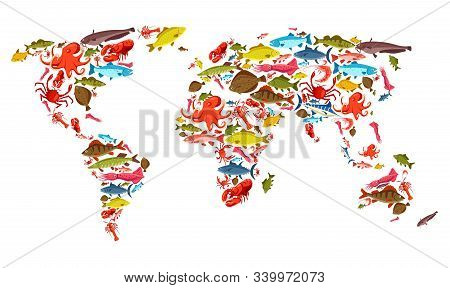 World Map Of Fishes And Seafood, Sea Fishing And Ocean Fishery Industry. Vector Fisher Seafood And F