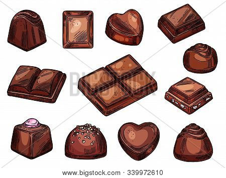 Chocolate Candies And Sweet Desserts Sketch Isolated Icons. Vector Choco Candies With Praline, Nuts