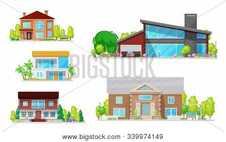 Houses, Mansions And Residential Real Estate Building Architecture. Vector Modern Family Homes, Cott