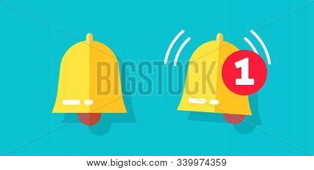 Bell Icon Or Doorbell Flat Cartoon Alarm Symbol With Alert Notification As Incoming Message Vector I