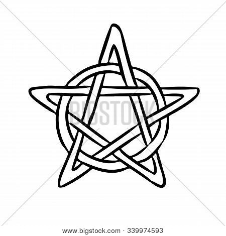Pentacle Occult Sign In A Circle. Pentagram Hand Drawn Magic Doodle. Isolated Pagan Wiccan Image.