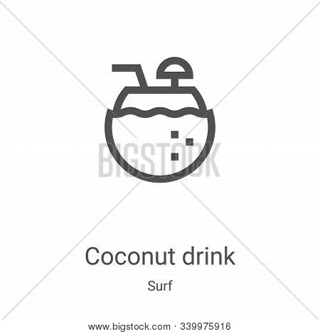 coconut drink icon isolated on white background from surf collection. coconut drink icon trendy and