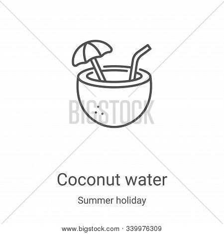 coconut water icon isolated on white background from summer holiday collection. coconut water icon t
