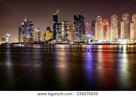 Dubai Skyline View  At Night, Dubai, United Arab Emirates