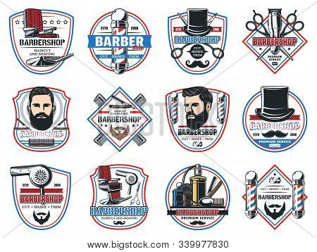 Barbershop Salon, Gentleman And Hipster Barber Shop Hairdresser Premium Signs. Vector Icons Of Beard