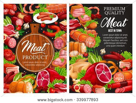Butcher Shop Meat Food And Sausages, Butchery And Farmer Products Sketch Poster. Vector Butcher Pork