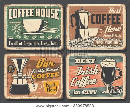 Coffee House Retro Grunge Posters, Cafe Hot Drinks Signs. Vector Coffeehouse Portafilter, Irish Coff