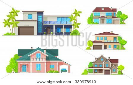 Houses, Mansions And Residential Real Estate Buildings Architecture. Vector Modern Family Cottage Ho
