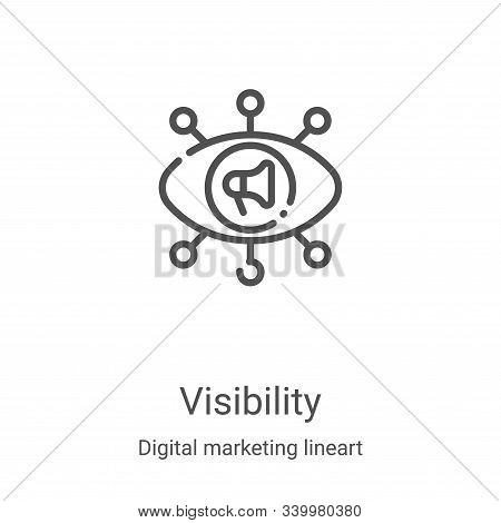 visibility icon isolated on white background from digital marketing lineart collection. visibility i